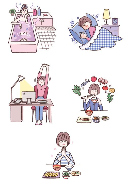 女性の食事、睡眠、仕事ライフスタイルイメージイラスト