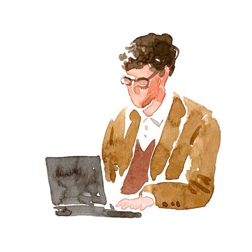 パソコン作業をしている男性のイラスト