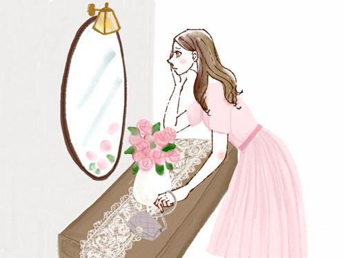 鏡を見てチェックする女性のイラスト