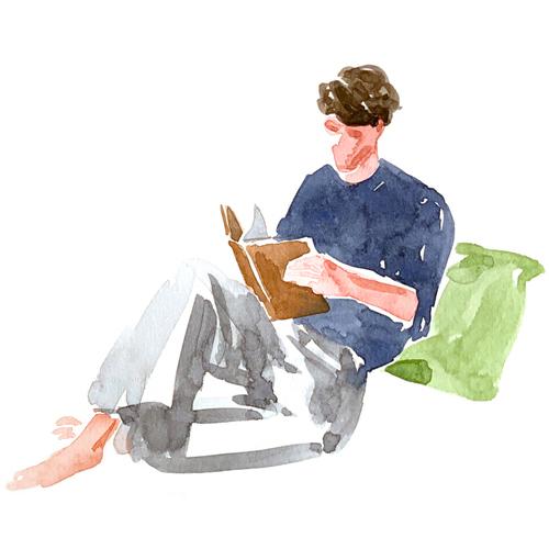 読書している男性のイラスト