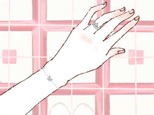 指輪やジュエリーをつけた女性の手のイラスト