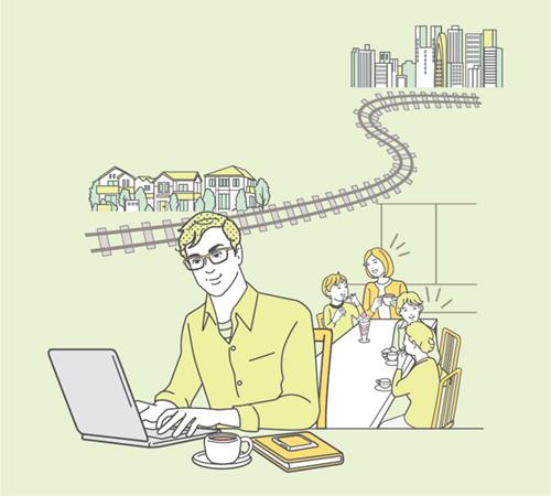 パソコンをする男性と家族のイラスト