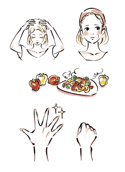 女性の上半身や手、食材などの美容イラスト