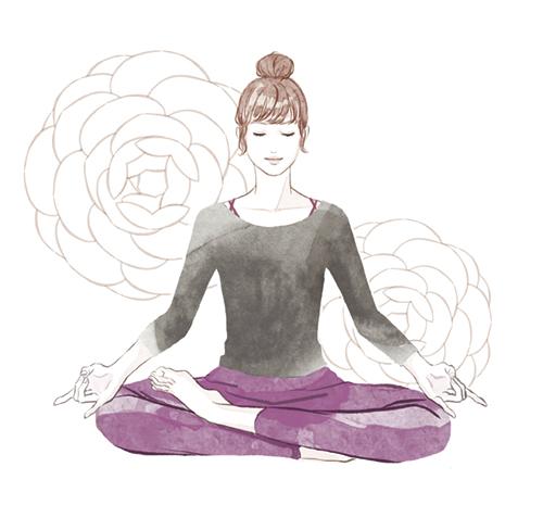 ヨガの瞑想をする女性のイラスト