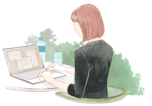 リモート作業をする女性イラスト