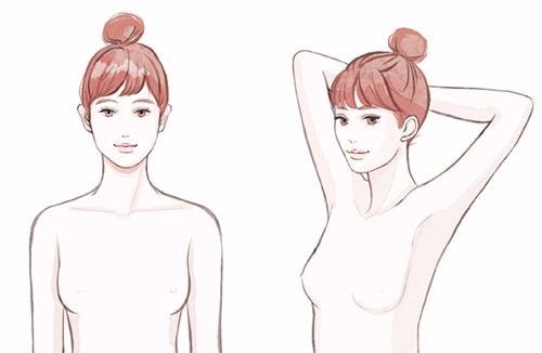上半身裸の女性イラスト