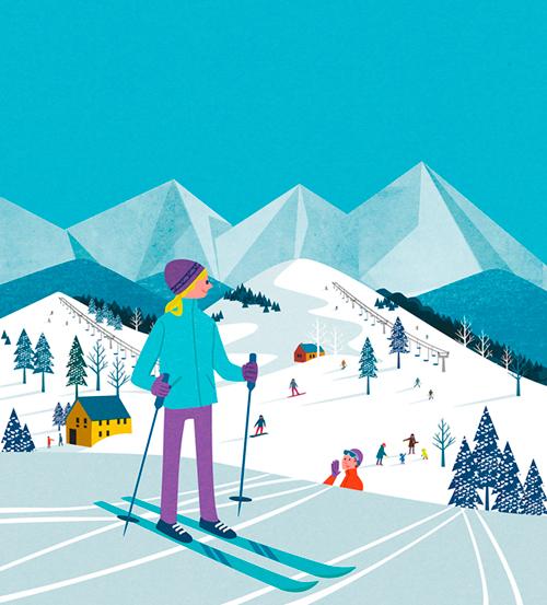 雪山でスキーを楽しむ人