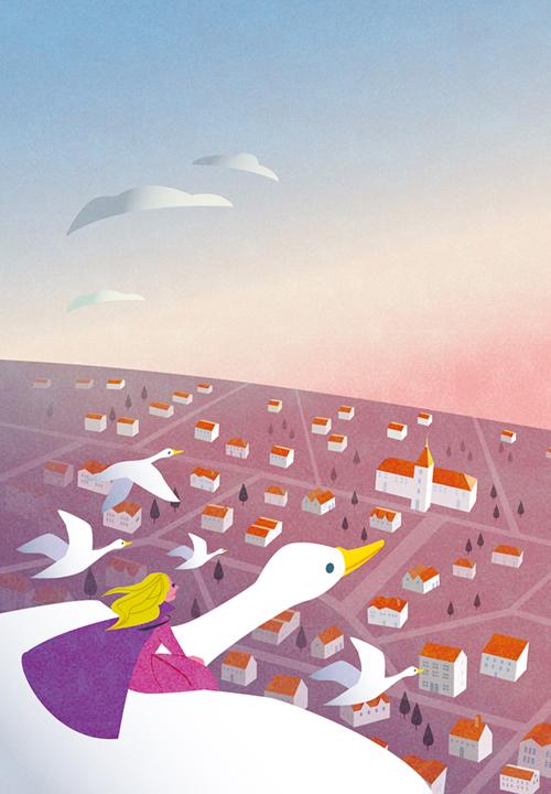 鳥と街の俯瞰図