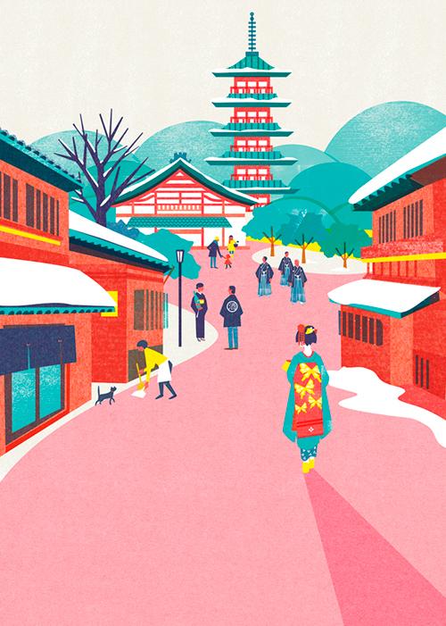 京都への旅行イメージイラスト
