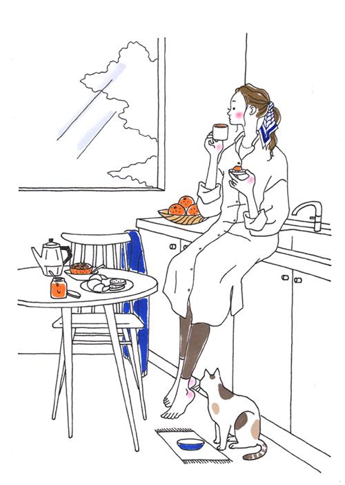 部屋でコーヒーを飲む女性のイラスト