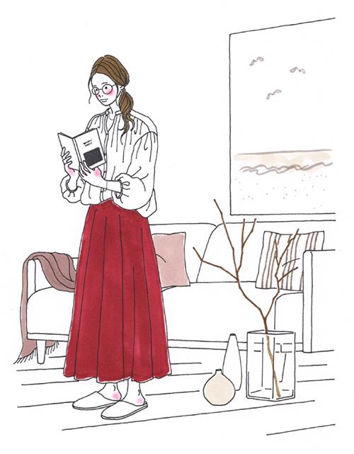 読書をしている女性イラスト
