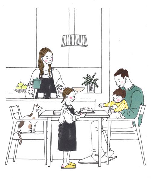 家族で食事しているイラスト