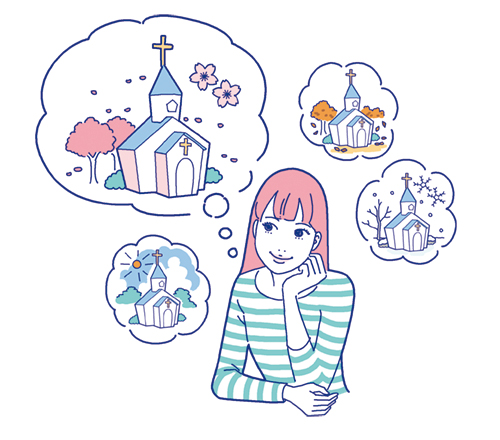 ウェディングのことを考えている女性のイラスト