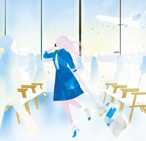 空港を歩く女性のイラスト