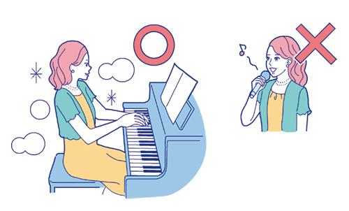 ピアノを演奏する女性や歌を歌う女性のイラスト
