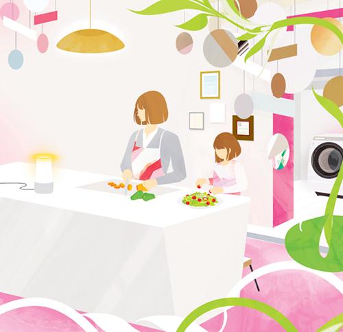 親子で料理をするイラスト
