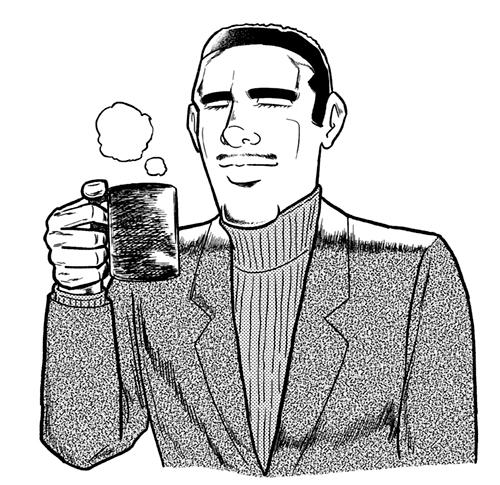 コーヒーを飲む男性のイラスト
