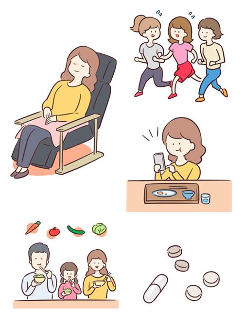 マッサージチェアに座ったり、食事したり、歩く女性のイラスト