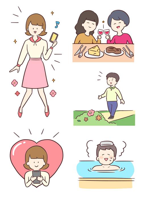 食事している女性、お風呂にはいったり歩く男性のイラスト