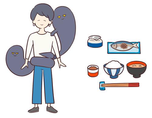 食事のイラスト、悪いものにとりつかれている女性のイラスト
