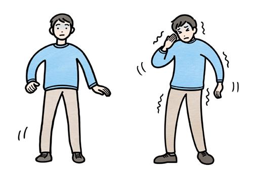 頭痛や立ちくらみがしている男性のイラスト