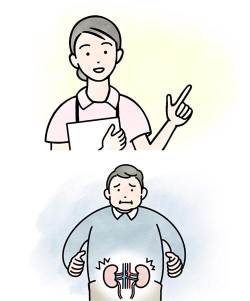 看護師と患者のイラスト