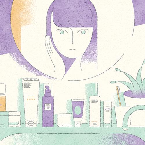 化粧品、コスメと女性のイラスト