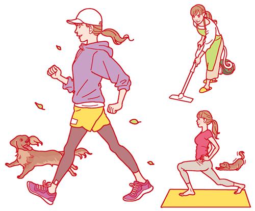 運動する女性、掃除やヨガをする女性のイラスト