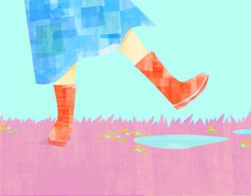 女の子と水たまりのイラスト