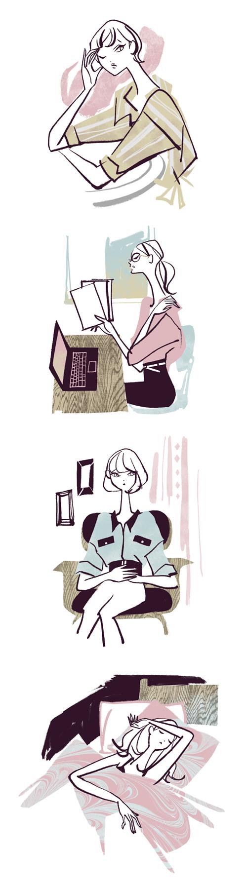 パソコンの作業をしたり、睡眠中だったり、腹痛などの女性イラスト