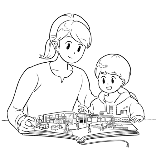 立体的な絵本を見るお母さんと子供のイラスト