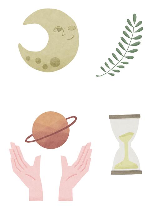 月、砂時計、手、星、植物のイラスト