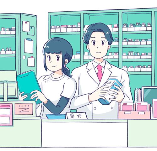 薬局にいる薬剤師さんのイラスト