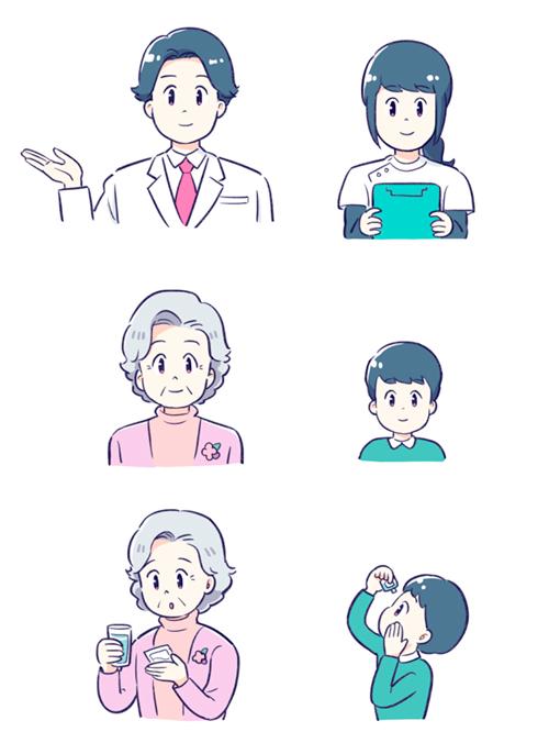 医師や看護師、シニアや子供のイラスト
