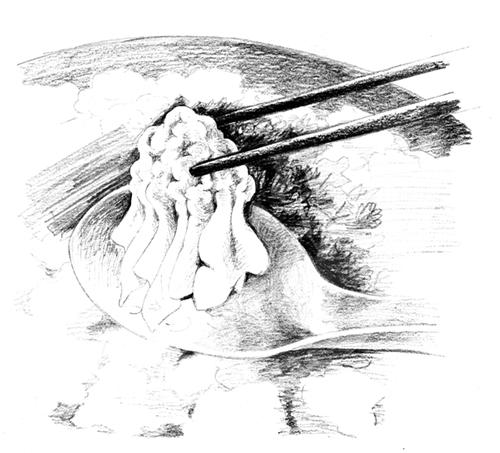 リアルなえんぴつタッチで描いた料理のイラスト