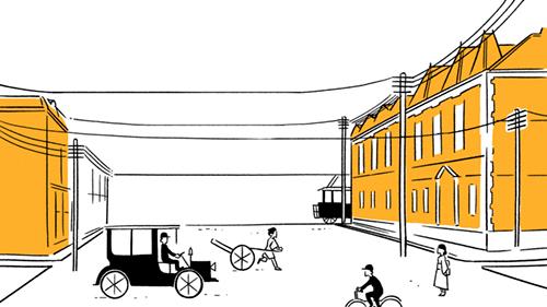 明治の電線の街並