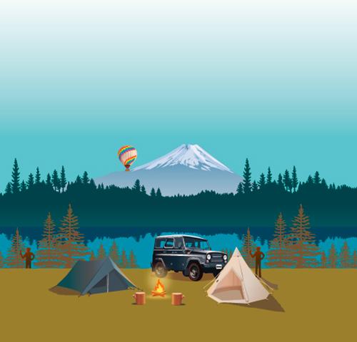 キャンプ場のイラスト