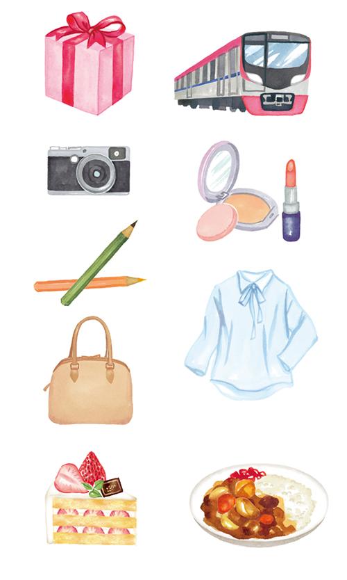 京王線の電車、プレゼントボックス、カメラ、えんぴつ、バッグ、ケーキ、カレー、洋服、コスメのイラスト