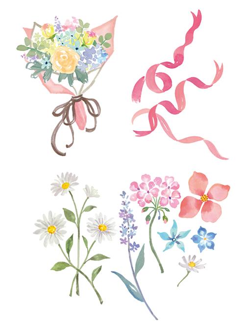 花束やリボンのイラスト