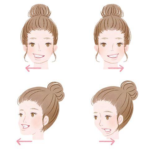 女性の顔の体操イラスト