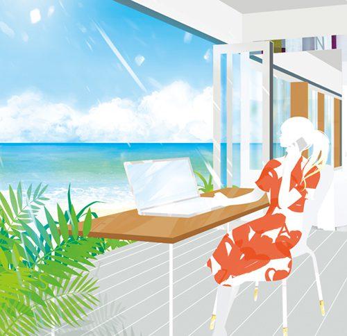 海を見ながら仕事をする女性のイラスト