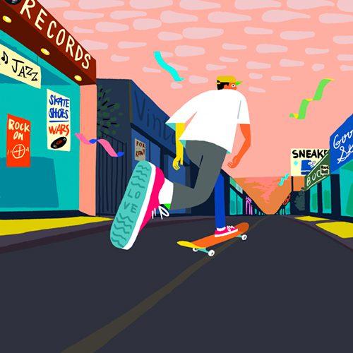 スケートボードの乗る男性のイラスト