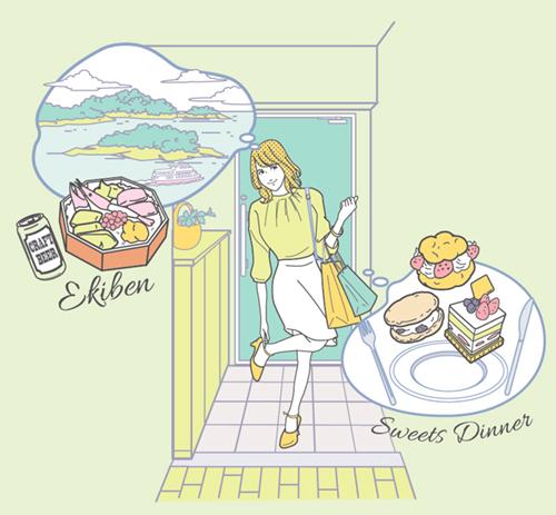 外食を想像する女性イラスト