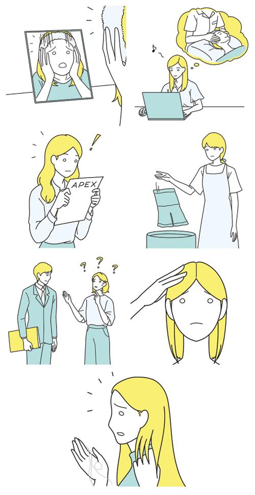 物忘れが激しい女性、抜け毛を気にする女性、肌を気にする女性のイラスト