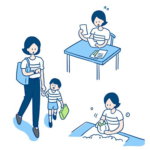 子供の見送り、仕事、洗いものをしているお母さんのイラスト