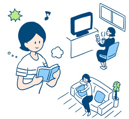 テレビを見るお母さん、本を読むお母さんのイラスト