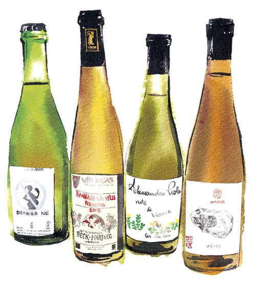 酸味系のワインボトル