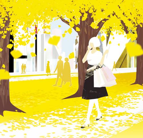 イチョウ並木を歩く女性のイラスト