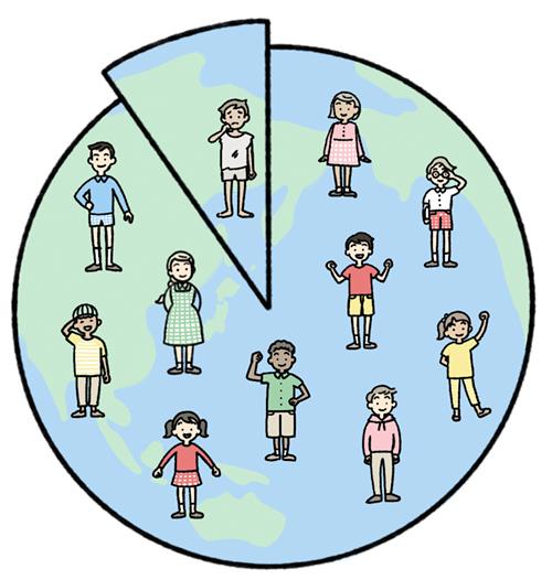 地球と子供とグラフのイラスト
