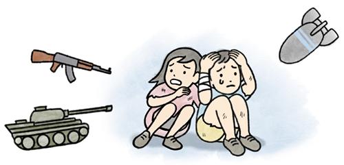 戦争におびえる子供たちのイラスト